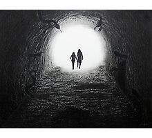 Walking Through the Darkness Towards the Light Photographic Print