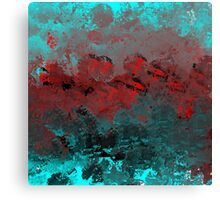 Cool Aqua and Red Abstract Canvas Print
