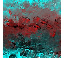 Cool Aqua and Red Abstract Photographic Print