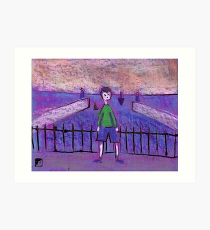 Boy and Harbour Art Print