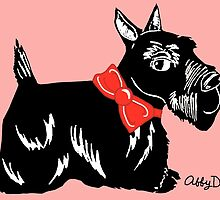 Scottish Terrier with a Red Bow by AbigailDavidson