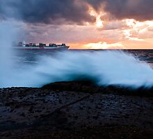 Container Ship Seascape by Alexander Kesselaar