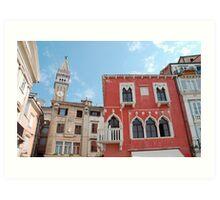 Buildings in Piran Main Square Art Print
