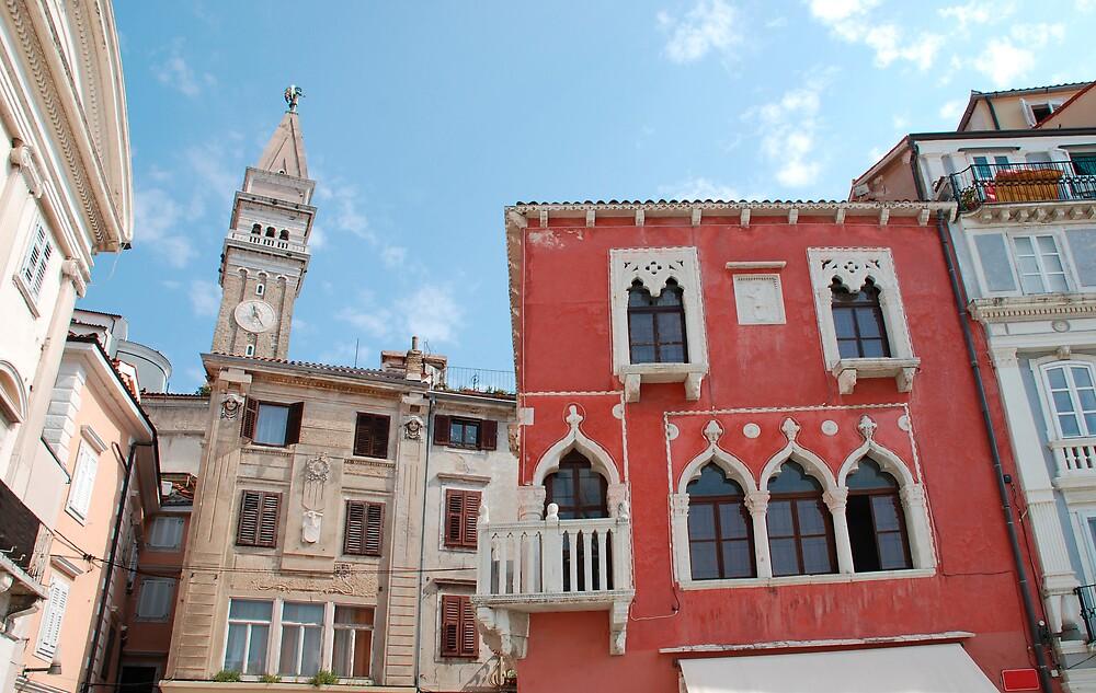 Buildings in Piran Main Square by jojobob