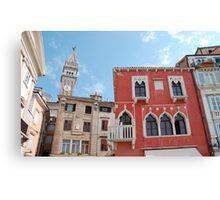 Buildings in Piran Main Square Canvas Print