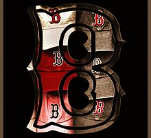 Sepia Boston Red Sox Logo with the Letter B by Joann Vitali