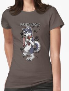 Leash Trained - Dark Blue Husky Womens Fitted T-Shirt