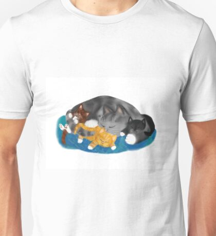 Three Kittens on Momma have a Cat Nap Unisex T-Shirt