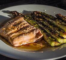 Grilled Asparagus With Oriental Steamed Salmon by TonyPriestley