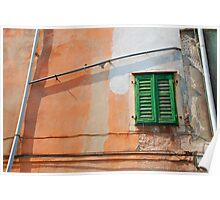 Green Shutters on Orange Wall Poster