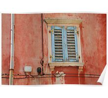 Tatty Blue Shutters in Piran Poster