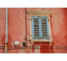 Tatty Blue Shutters in Piran Photographic Print