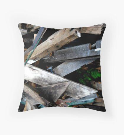 Wood stack Throw Pillow