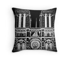 Notre Dame in Black and white Throw Pillow