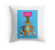 Happy Father's Day Dogs in formation. Throw Pillow