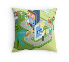 Isometric Virtual Shopping Concept Throw Pillow