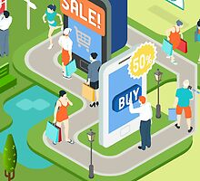 Isometric Virtual Shopping Concept by aurielaki