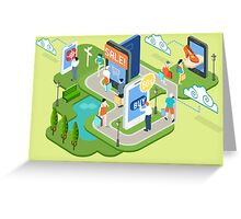 Isometric Virtual Shopping Concept Greeting Card