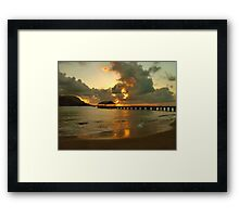 Hanalei Pier Sunset Framed Print
