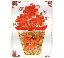 VIBRANT ORANGE FLOWERS IN VASE Poster
