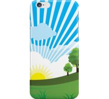 Green Grass Sunrise Landscpape iPhone Case/Skin
