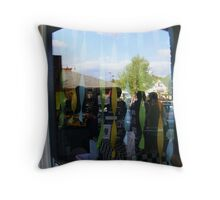 Reflection of sky in ben and jerry's window Throw Pillow