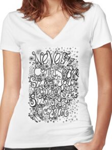Never Confuse the Size of your Paycheck with the Size of your Talent Women's Fitted V-Neck T-Shirt
