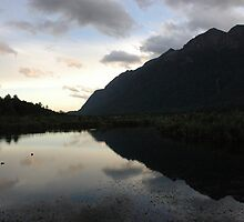 Mirror Lakes, Milford Sound Rd, NZ. by Adam Branford