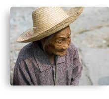 Straw Hat Old Lady Canvas Print