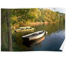 Boats on the lake Poster