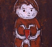 Child with a doll by sword