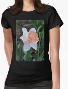 Orange and White Daffodil in the Garden Womens Fitted T-Shirt