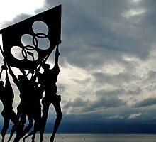 Dark clouds around Olympic statue by Arie Koene