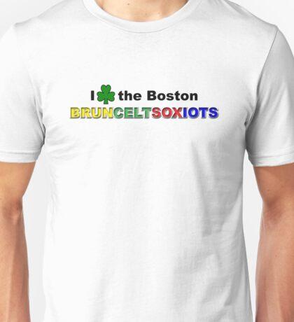 I Love Boston Sports (green shamrock) Unisex T-Shirt