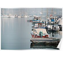 Boats in Trieste Harbour Poster