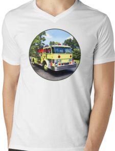 Yellow Fire Truck Mens V-Neck T-Shirt