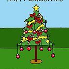 Happy Christmas from your gardener, cartoon Christmas tree. by KateTaylor