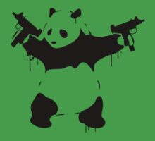 Banksy Panda With Guns One Piece - Short Sleeve