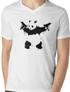 Banksy Panda With Guns Mens V-Neck T-Shirt