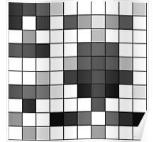 Modern Black and White Geometric Squares Poster
