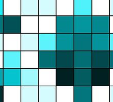 Modern Teal, Black, and White Geometric Squares by Blkstrawberry