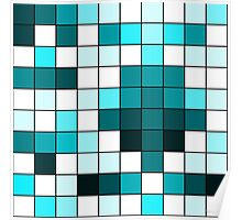 Modern Teal, Black, and White Geometric Squares Poster