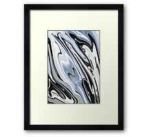Grey and Black Metal Marbling Effect Abstract Framed Print
