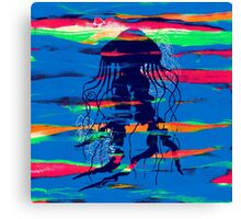 Blue Jellyfish Paintbrush Canvas Print