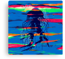 Blue Jellyfish Paintbrush Canvas Print