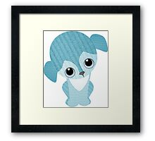 Beagle Turquoise Knit Framed Print