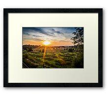 Sunset over Kintbury Fields Framed Print