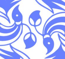 Blue Japanese Bird Motf  Sticker