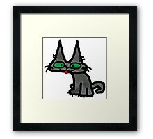 Kitty with Tongue Sticking Out Framed Print