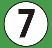 LUCKY, 7, Racing 7, SEVEN, Seventh, Number Seven, Number 7, Seven, Competition, BRITISH RACING GREEN Kids Tee